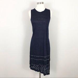 Rebecca Minkoff small Midi Dress Linen Blue Eyelet Studded